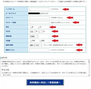 モッピーの登録項目情報
